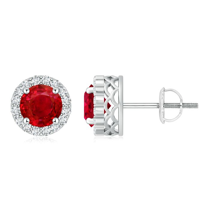 Angara Oval Natural Ruby Diamond Floral Halo Stud Earrings in Platinum