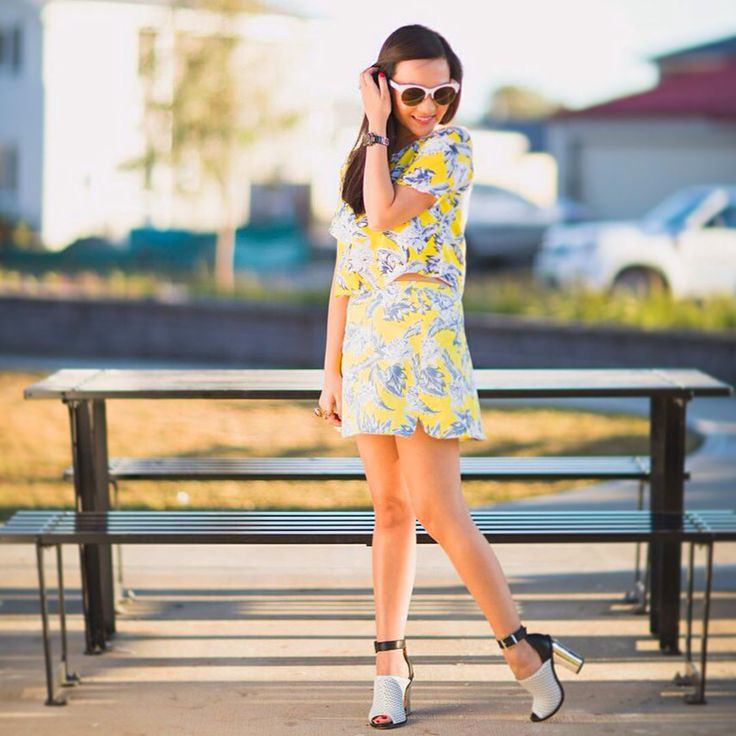 Motel rocks yellow floral top & skirt. Wittner heels and Sportscraft sunglasses.
