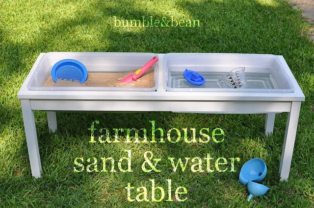LOVE this sand & water table, but maybe it's even easier to make if I find a castoff coffee table & just cut out space for the containers?? AND, get extra containers for easy switch out when I don't want to use sand but want to store it for later.