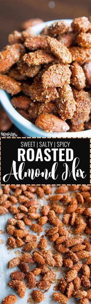 Savory Almond Mix. These oven roasted are the perfect blend of sweet, salty and spicy. I can't stop eating them! Spiced nuts are a favorite snack of mine.