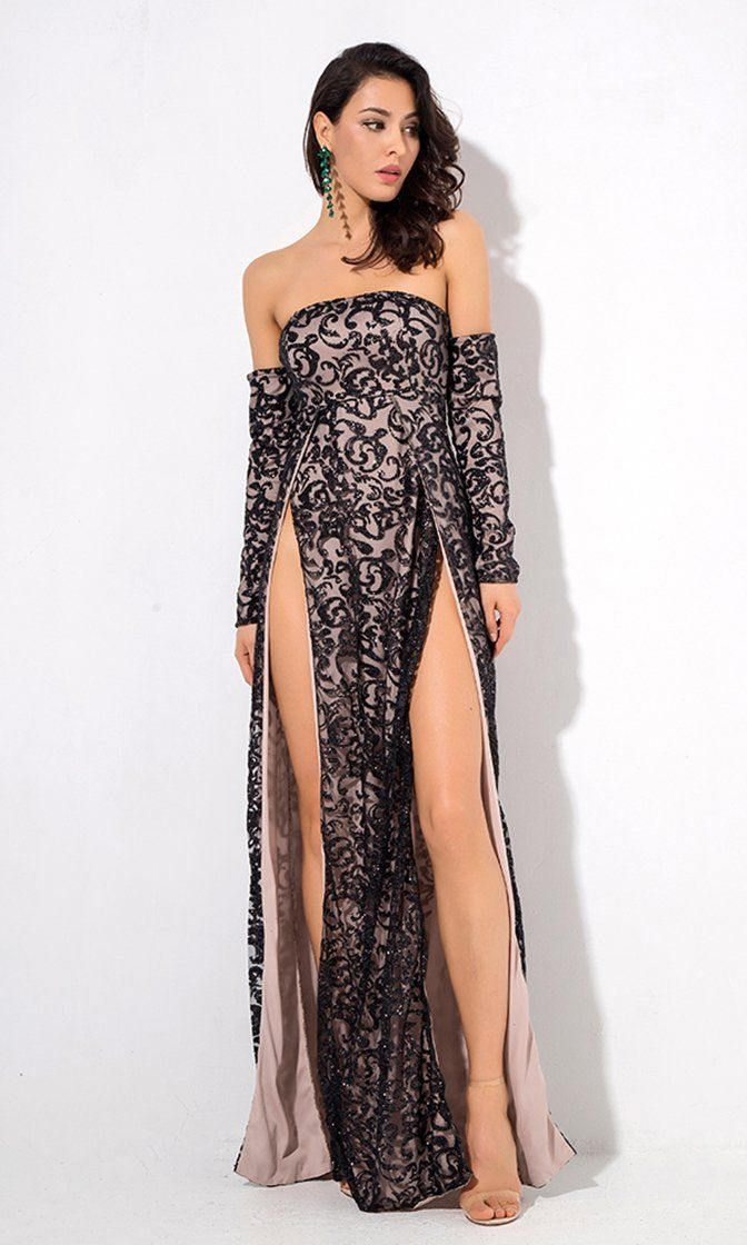 4d5d753c6f3 Give It Up Black Glitter Swirl Pattern Long Sleeve Off The Shoulder Double  Slit Maxi Dress