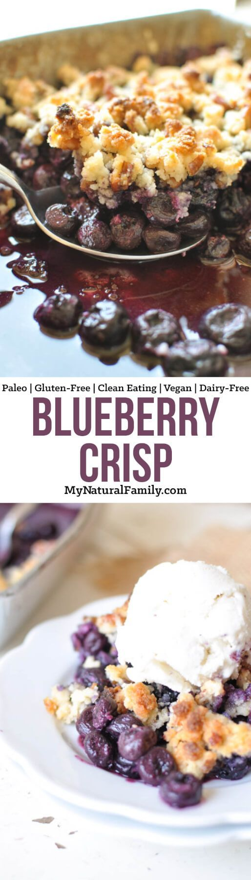 This super simple and delicious Paleo blueberry crisp is made with all-natural ingredients and is loaded with nutrients and antioxidants. It's a perfect way to enjoy summer all year long! {Gluten-Free, Clean Eating, Vegan, Dairy-Free}