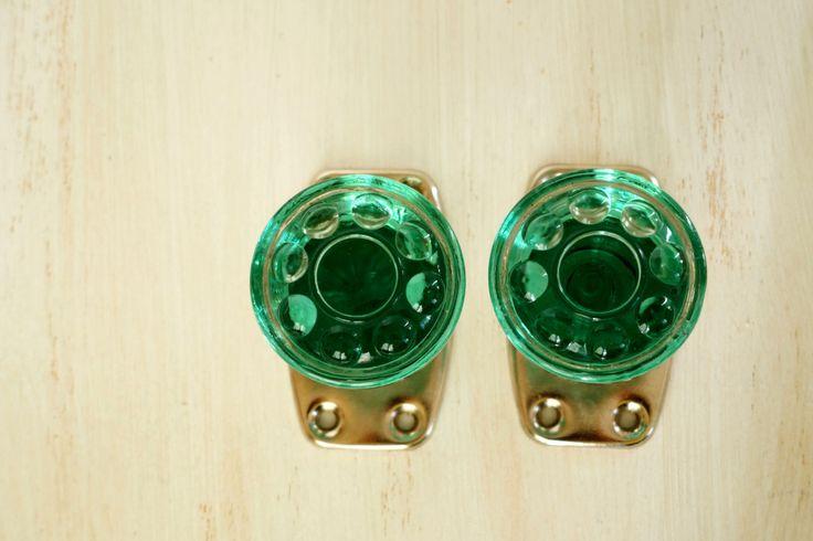 Vintage glass door knobs Decorative door knobs Green glass door handle Antique door knob figured glass Set of 2 (24.00 USD) by Retronom