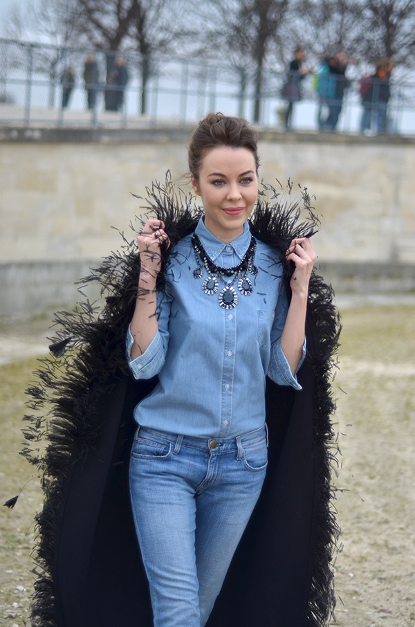 Texas tuxedo: Fashion Weeks, Denim On Denim, Paris Fashion, Ульяна Сергеенко, Fashion Style, Street Style, Chambray Shirts, Canadian Tuxedos, Ulyana Sergeenko
