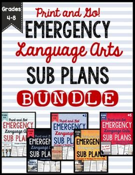This BUNDLE includes ALL of my Emergency Language Arts Sub Plans for Grades 4-8!  Over 100 pages and 10 days worth of reading literature and informational text fun for your students to work on in your absence!Why do you need EMERGENCY SUB PLANS?As a veteran teacher with three children I have learned that life happens.