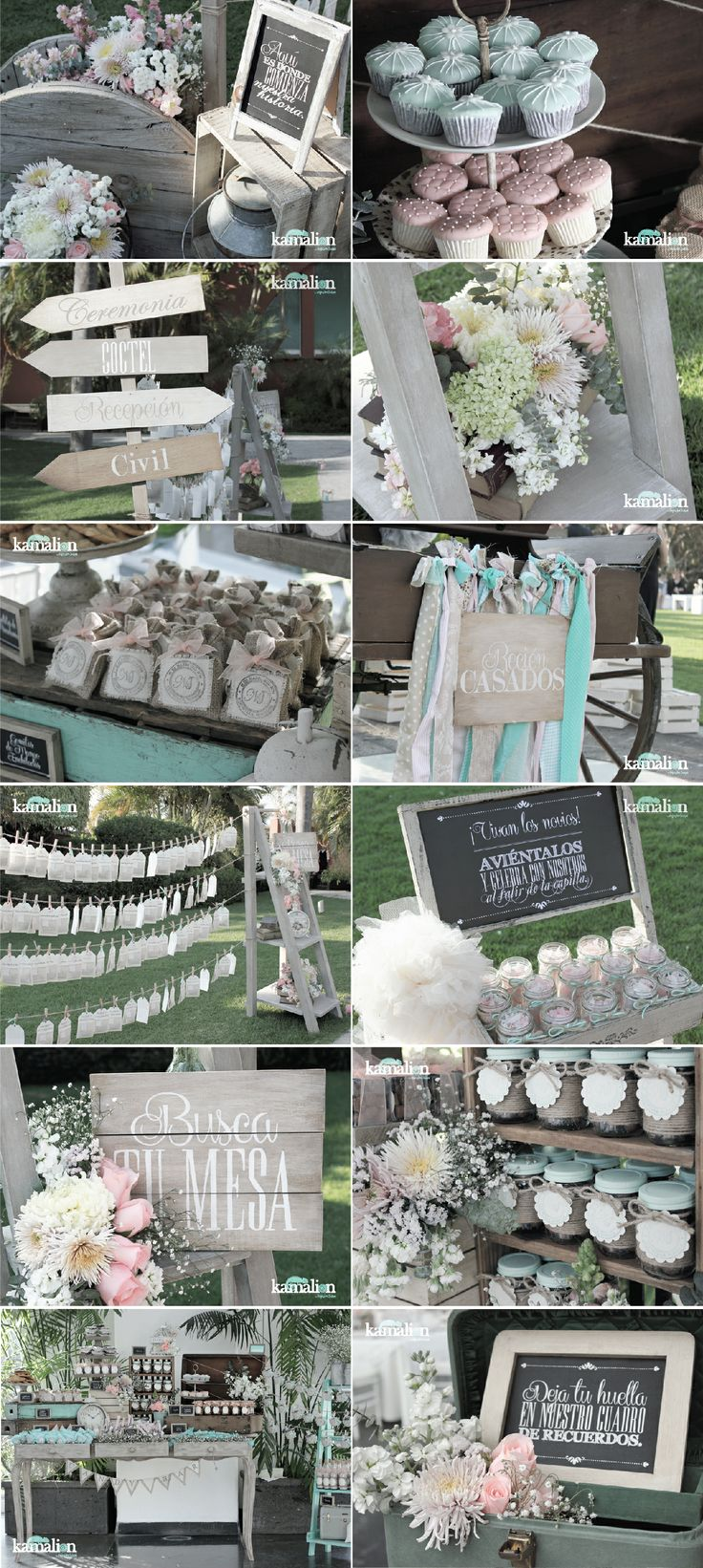 www.kamalion.com.mx - Boda / Wedding / Vintage / Rustic / Menta & Rosa / Mint & Pink / Decoración / Decor / Candy Bar