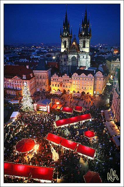 Christmas markets at Old town square, Prague, Czech Republic   Try: Sausages, corn on the cob and pastries. Buy: Bohemian crystal, wooden toys, scented candles, handmade jewellery,  ceramic mugs