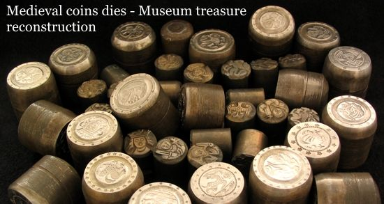Medieval coin dies museum reconstruction by Antiquanova mint.
