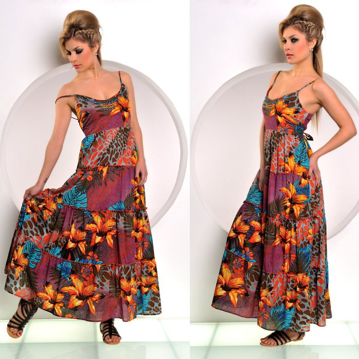 Langes #Sommerkleid mit frischen Orange-Farbtönen. #Maxikleid