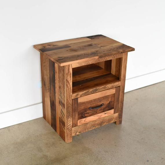 Rustic Bedside Table Reclaimed Wood Nightstand Handmade Etsy