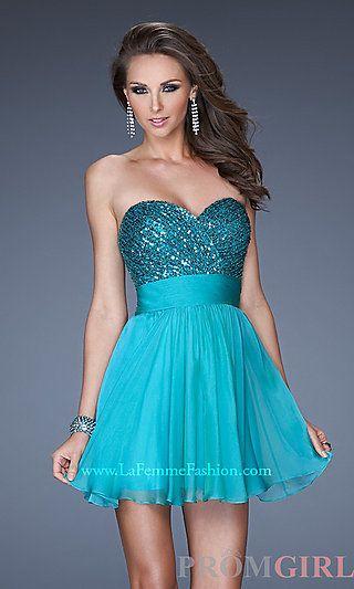 Short Strapless Homecoming Dress at PromGirl.com