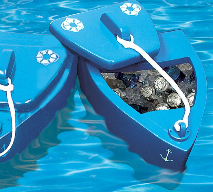 """""""Floating Cooler Boat If you can't lazily lounge around on a real boat drinking all day on the open seas, then just reverse the process in the pool with this cool new Floating Kooler bobbing along side you."""