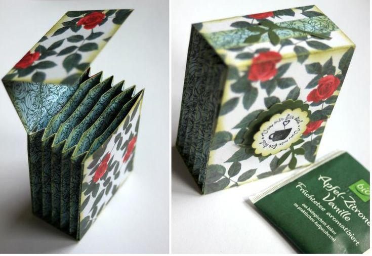 Con trozos de papel que tengas por casa podrás elaborar este pequeño estuche para las bolsitas de té. ¿Qué te parece cómo regalo?