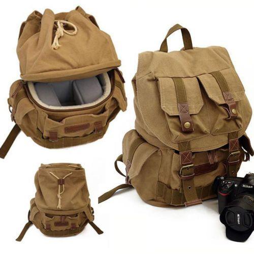 Waterproof Vintage Canvas DSLR Camera Backpack Insert Bag for Canon Nikon Sony | eBay