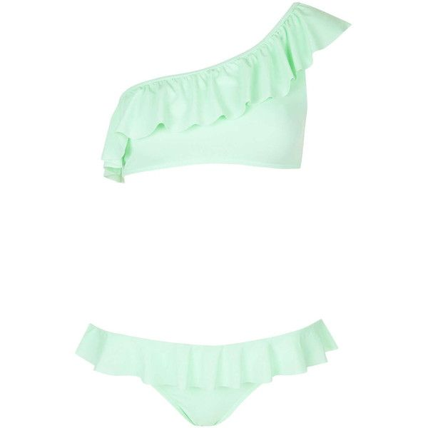 TOPSHOP One Shoulder Frill Bikini Set (1.160 RUB) ❤ liked on Polyvore featuring swimwear, bikinis, swimsuit, mint, bikini swimsuit, ruffle bathing suit, ruffle bikini bottom, ruffle bikini and one shoulder swimsuit