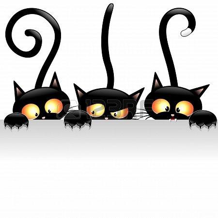 nakresliť na  stenový obrázok Funny Black Cats Cartoon with White Panel