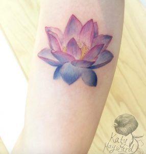 Violet lotus flower by Katy Hayward