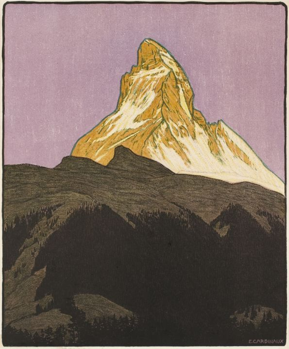 Zermatt, Matterhorn Cervin (by Emil Cardinaux/ 1910). In 1908, inspired by the work of Ferdinand Hodler, the painter Emil Cardinaux designed an avant garde poster for Zermatt. Drawn in a style, rather daring for its time, it is a monument to the beauty of the Matterhorn, blazing with colour and over hanging a valley cast in shadow. The image is reduced to its most essential form of expression and no excess detail is allowed to interfere with the aesthetic value of the subtle play of color.