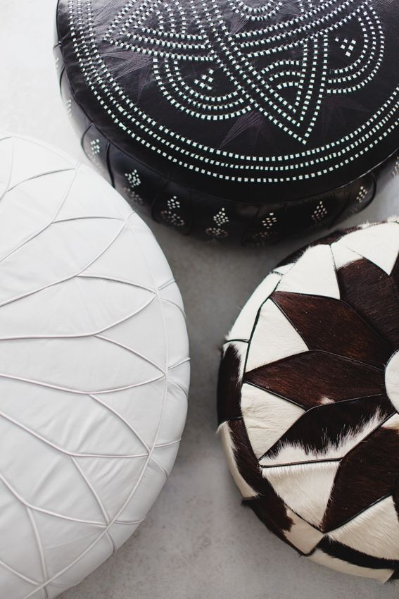 Indie Home Collective.  Moroccan pouffe.  Neutral colours help bring out the lovely geometric designs I like the one on the bottom right