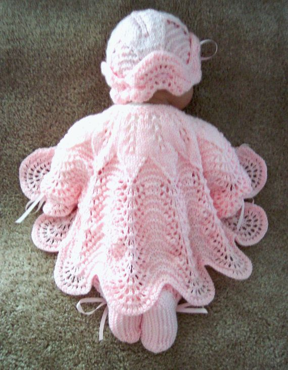 Custom handmade knit baby girls or Reborn Dolls pink scalloped edge Sweater hat booties set Layette 0-12M