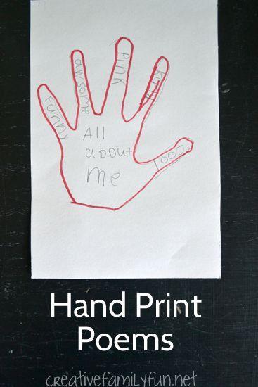 Write simple descriptive poems on your hand print. A fun creative writing…