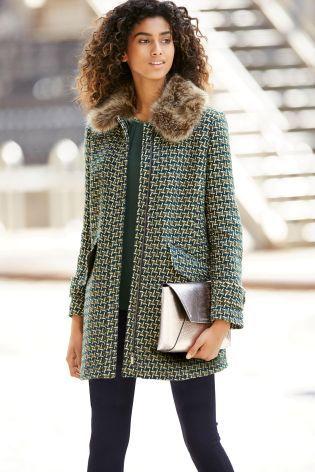 Зеленое пальто с узором - Покупайте прямо сейчас на сайте Next: Россия