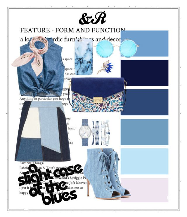 """""""Fifty Shades Of Blue"""" by devarahma on Polyvore featuring Victoria, Victoria Beckham, Gianvito Rossi, Mellow World, AQS by Aquaswiss, Manipuri, A.X.N.Y., denim, Blue, ShadesofBlue and patchwork"""