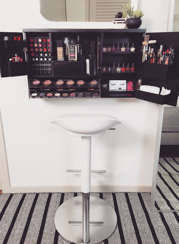 Wall Mounted Makeup Organizer Vanity by bleachla on Etsy https://www.etsy.com/listing/265932314/wall-mounted-makeup-organizer-vanity