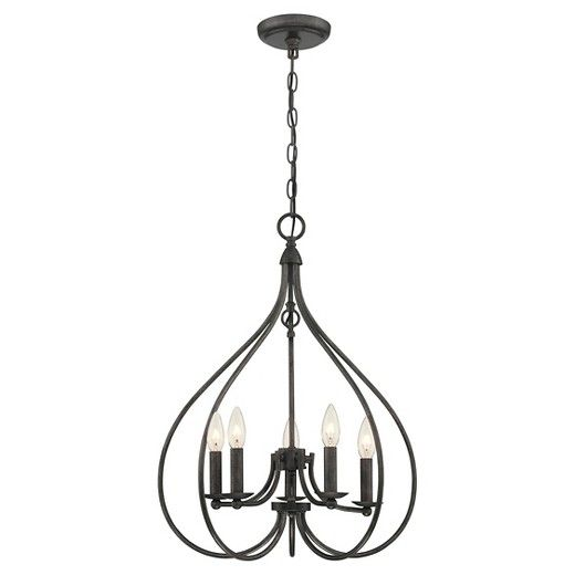 With a look and style that draws its inspiration from early American History, this Basket 5 Light Chandelier - with its graceful bronze sloping arms and overall heritage inspired candlestick design - will be a striking accent in your kitchen or dining room. Whether you've got a small or large space, these rooms are the central hubs of your home. As the gathering spaces where you prepare nourishing meals and then commune as a family unit, it's important that your kitchen and di...