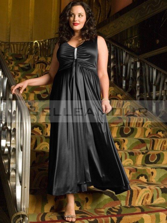 robe de soir e grande taille col v plis satin a ligne noir longue mode robe soir e grande