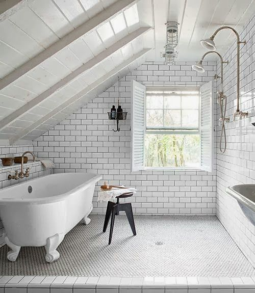 Master Bathroom Planning. Master Bathroom Planning. White subway tile with slanted white roof.