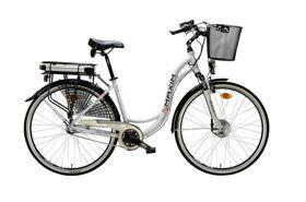 """Rower Maxim E-BIKE 1,6 3-bieg damski 18"""" biały 2015. Elektromotoryczny damski rower trekkingowy na 28 calowych kołach w białym kolorze. #rowertrekkingowy #rowerdamski"""