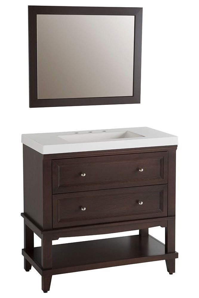 Home Decorators Collection Teasian 36 In Vanity In Chocolate With Cultured Marble Vanity Top In White With White Basin And Mirror At The Home Depot