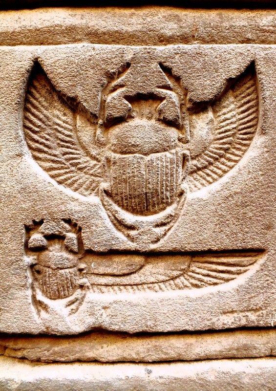 ÉGYPTE ANTIQUE - Bas Relief 13 - golden scarab - en creux