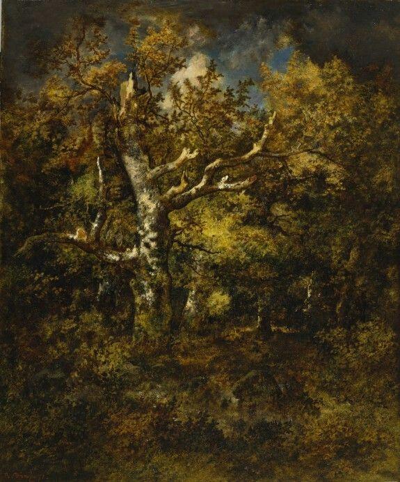 Narcisse Virgile Diaz De La Pena, Barbizon, Forest of Fontainebleau, Autumn 1871, 30 11/16 x 25 1/2, oil on wood