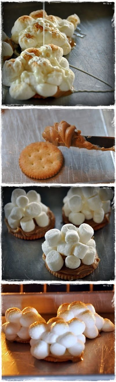 WARM GOOEY PEANUT BUTTER MARSHMALLOW TREATS - my late Aunt Beth used to make these, but she used Saltines instead.  They are DELICIOUS!
