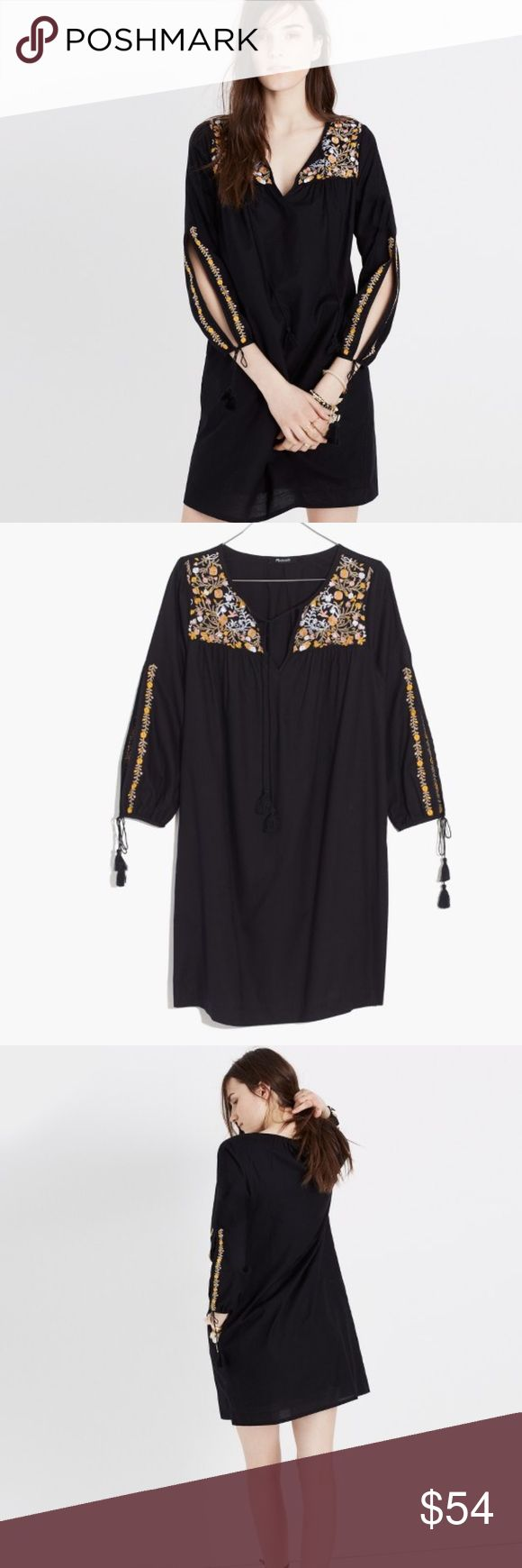 "Madewell XS Tunic dress festival boho Madewell Women's XS Tunic dress Slit sleeve 3/4 Black Embroidered multicolor birds flowers  Tassel details excellent condition  100% cotton  Measurements laying flat:  Armpit to armpit: 20"" Length from top center back to bottom: 31.5"" Madewell Dresses"