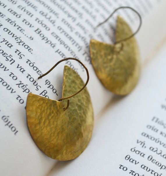 Brass circular earrings by fanoulala on Etsy