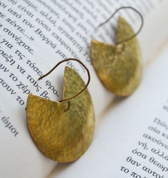 Brass circular earrings by fanoulala on Etsy