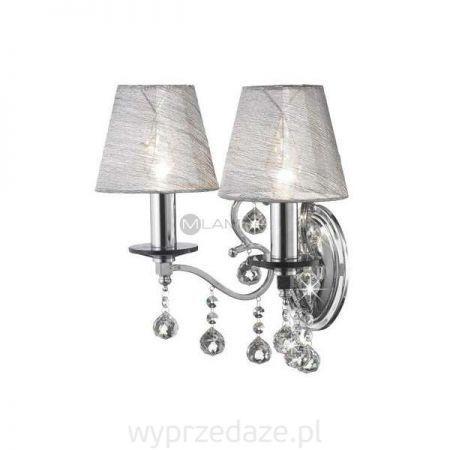 Kinkiet LAMPA ścienna GRENSHOLM 102492 Markslojd abażurowa OPRAWA świecznikowa KRYSZTAŁKOWA crystal chrom