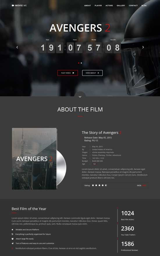 Really nice interactive video instead of just the standard slideshow bar  Cinema-Movie-Bootstrap-3-HTML-Template