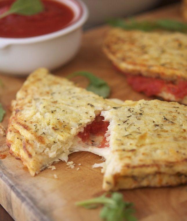 Cauliflower Crust Calzone - crust (cauliflower, mozzarella cheese, egg, salt, oregano, black pepper), filling (tomato sauce, mozzarella, salt)