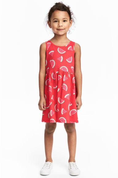 Tricot jurk met dessin - Rood/watermeloen - KINDEREN | H&M BE 1
