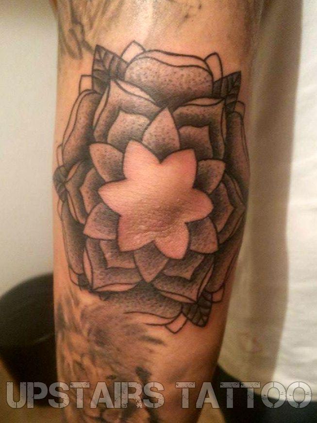 #tattoo #dotwork #elbow #lotus by Mihai Bizduianu