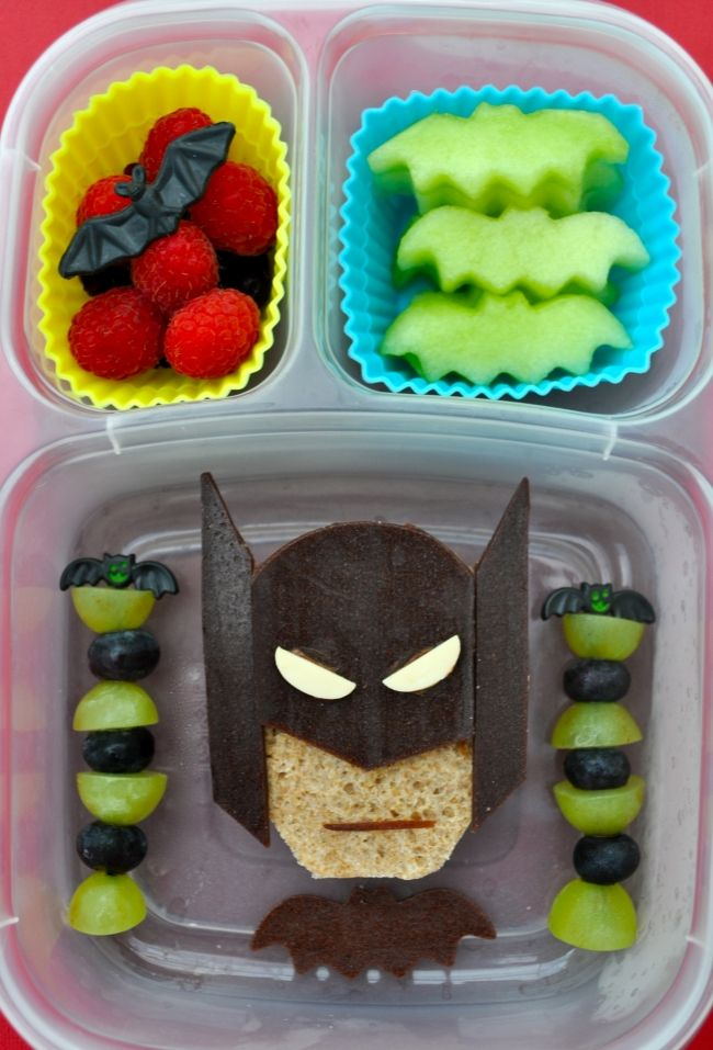 Batman sandwich: Batman's mask and bat are made from Stretch Island brand grape fruit leather, and his eyes are vegan cheese.