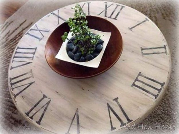 DIY Pottery Barn Clock Table by DIY Ready | 34 Pottery Barn Hacks For Design On A Budget at http://diyready.com/diy-projects-pottery-barn-hacks