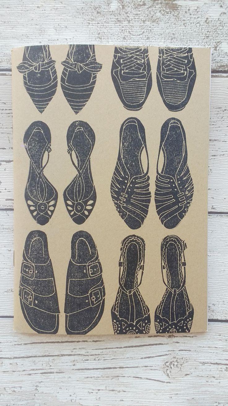 Shoe Notebook Hand Printed Kraft Journal A5 Notebook Shoe