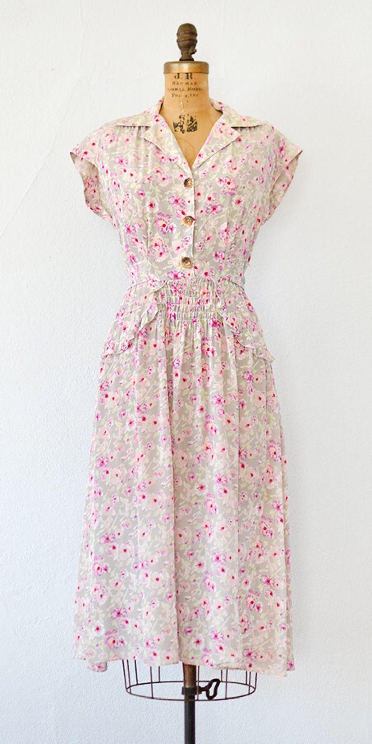 vintage 1940s dress   40s floral dress #1940sdress #40sdress