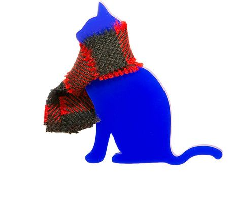 Cat Brooch in a Tartan scarf in Blue. Made in Finland by KiviMeri.
