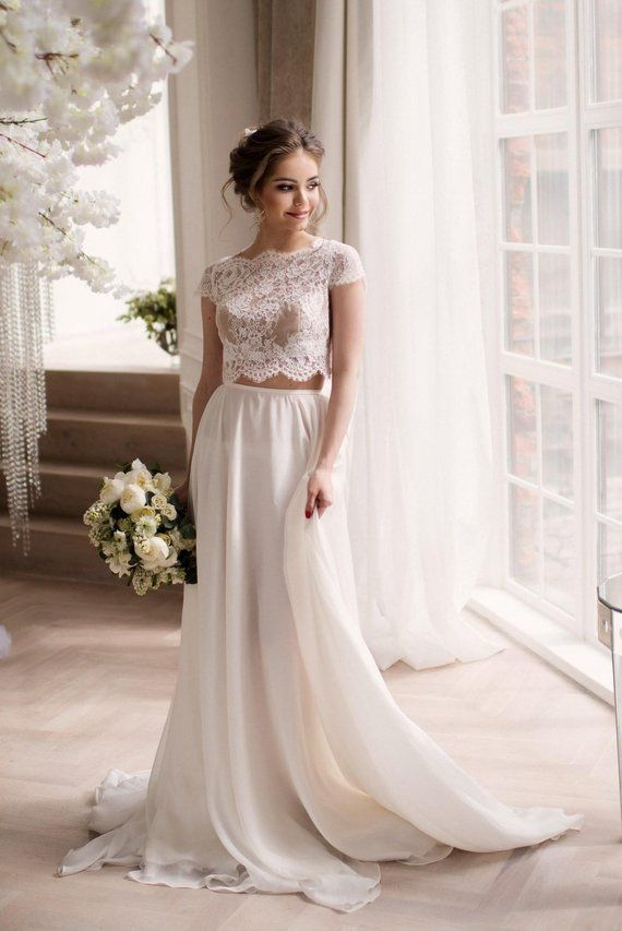 f1999d80b6f36 Wedding crop top, lace crop top, crop top wedding dress, crop top, two  piece wedding dress, beach we